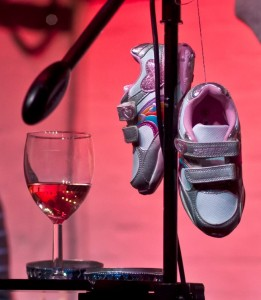 Pink & Silver Sneakers on mike stand